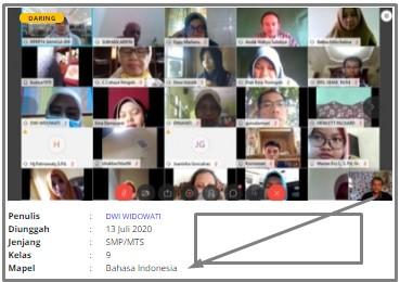 RPP 1 Lembar Daring Bahasa Indonesia Kelas IX SMP Revisi 2020,