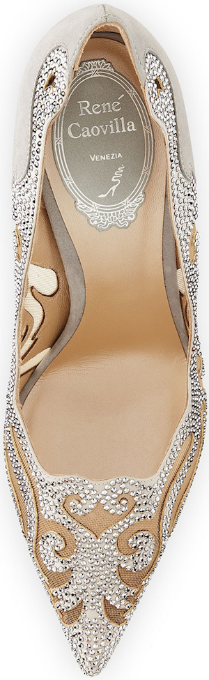 Rene Caovilla Crystal-Embellished Laser-Cut Pump, Gray