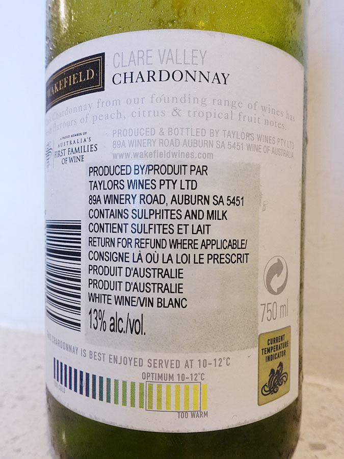 Wakefield Clare Valley Estate Chardonnay 2018 (back label)