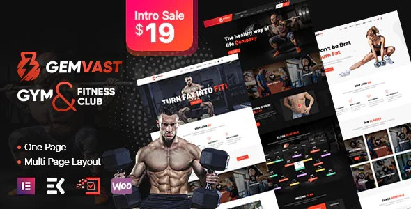 Best Gym Fitness Club Multipage, Onepage WordPress Theme