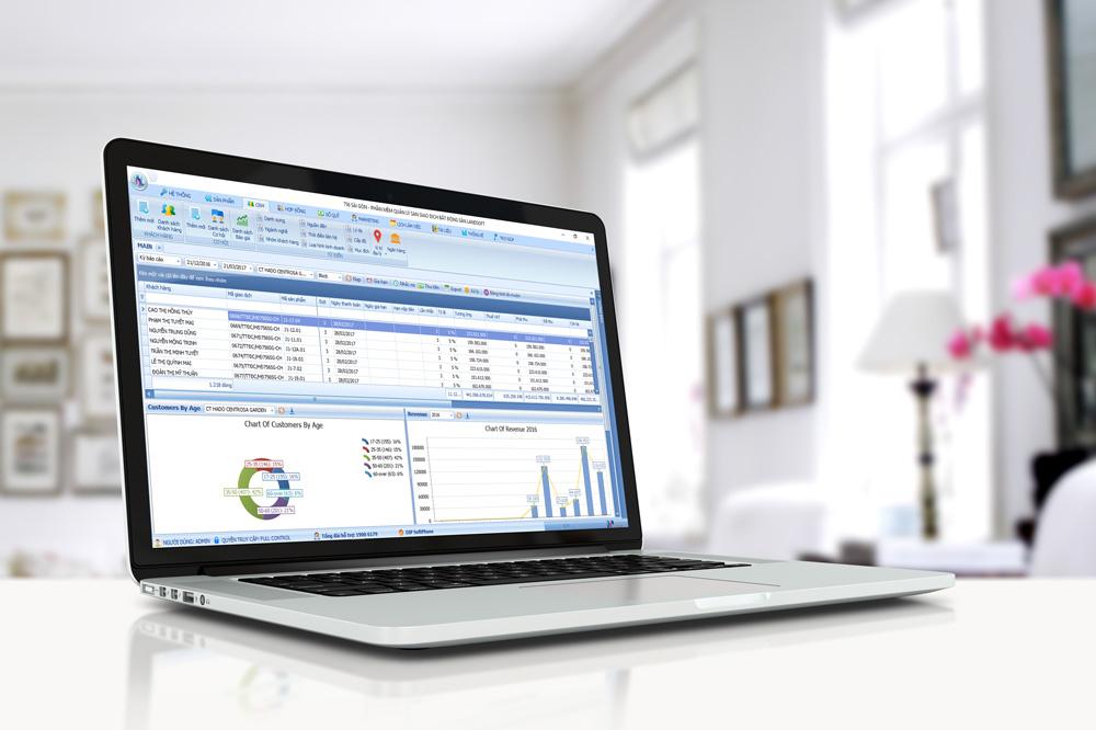 Giao diện module tính năng quản lý khách hàng (CRM) của Landsoft Business.
