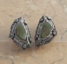 Green agate clip earrings by Miracle