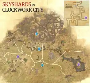 Clockwork City Skyshards Location Map The Elder Scrolls Online (ESO)