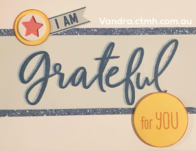 #CTMHVandra, thank you, Colour dare, grateful, star, circles, retiring, blue belle, peacock, shimmer trim, acrylic, cardmaking, stamping, Stamp of the Month,