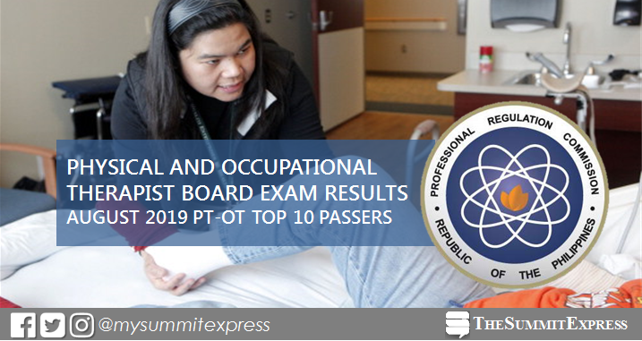 RESULT: August 2019 Physical, Occupational Therapist PT-OT board exam top 10 passers