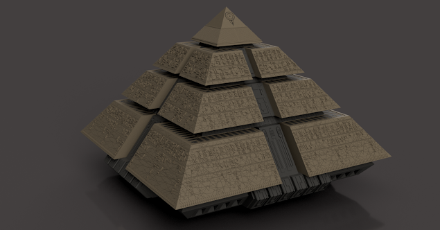 Render of the final Stargate Pyramid model without the base