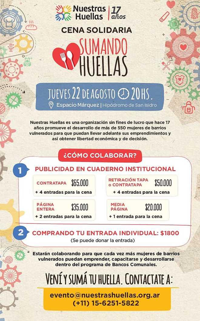 Nuestras Huellas realizará su primera Cena Solidaria para recaudación de fondos