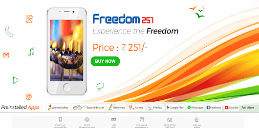 | Make in India Freedom 251 Smartphone @ 251/- Book now ~ Job Result 2016