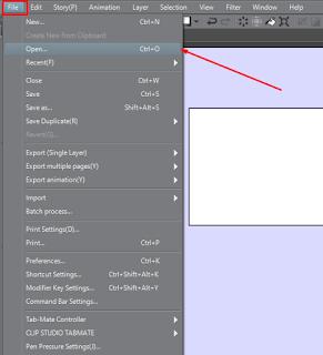 cara mengimport gambar baru di Clip Studio Paint