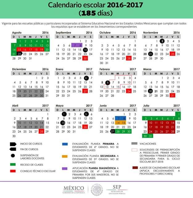 Supervisión Escolar Papantla: CALENDARIO ESCOLAR 2016-2017: PARA 200 ...