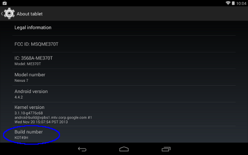 Enable developer options on KitKat