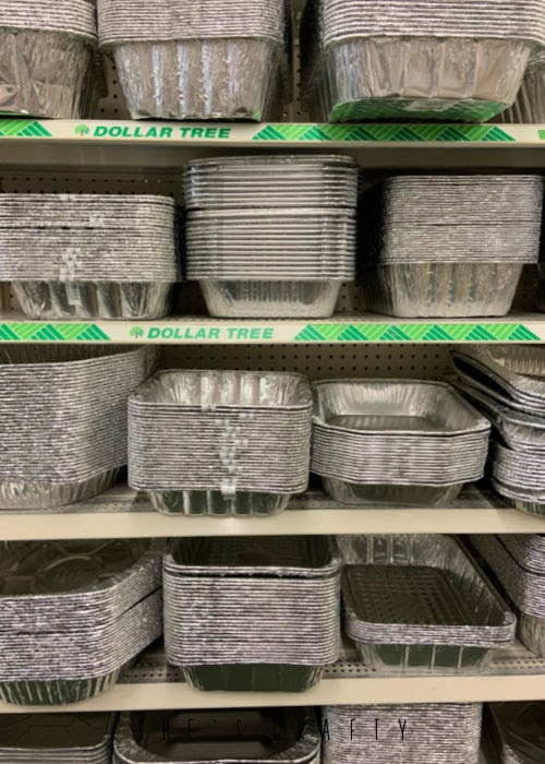 Disposable baking pans - great supplies to buy at Dollar Tree