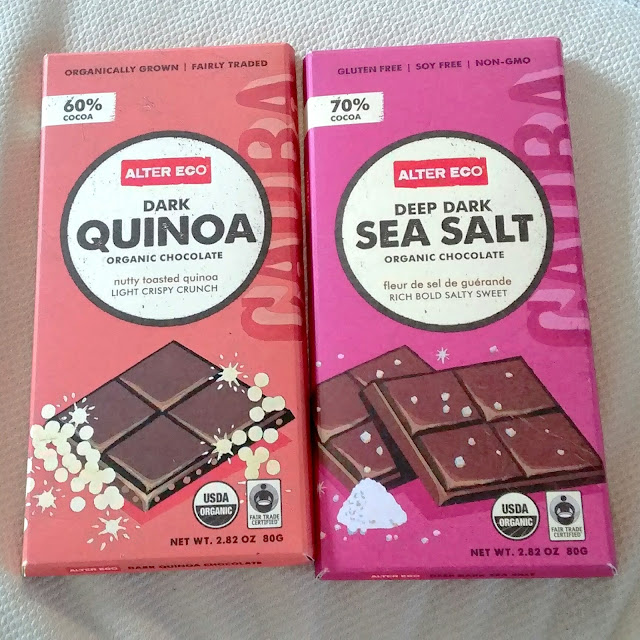 Alter Eco Dark Qunoa and Alter Eco Sea Salt chocolates