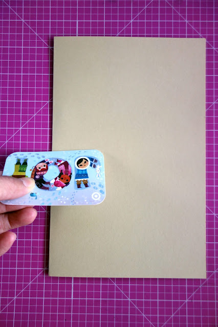 self-healing mat, card stock, bone folder, how to repurpose an expired gift card