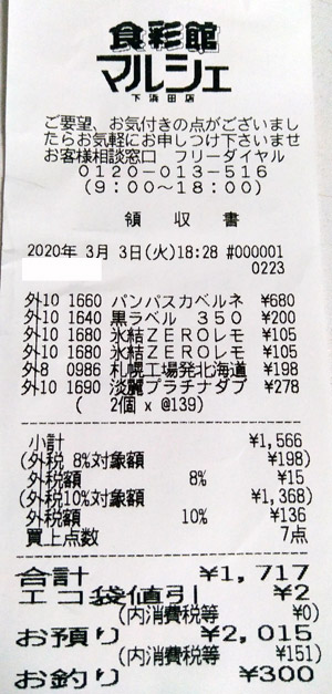 マルシェ 下浜田店 2020/3/3 のレシート
