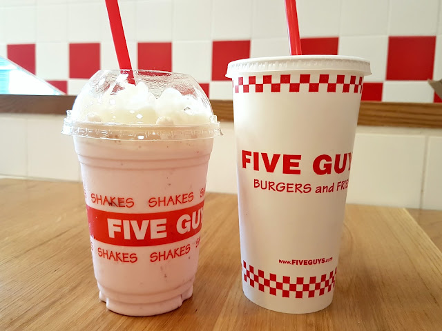 The Strawberry Milkshake and a Fountain Drink at Five Guys, Al Tijaria Tower, Kuwait