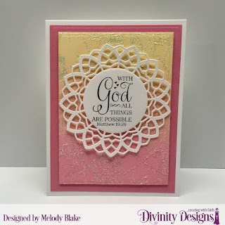 Stamp/Die Duos: Great Faith Custom Dies: Delicate Doily, A2 Portrait Card Base with Layer, Rectangles Other: Mixed Media Stencil: Roses