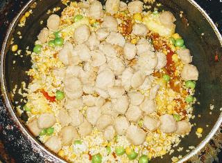 Soya beans chunks mixed with vegetables Dal khichdi mixture
