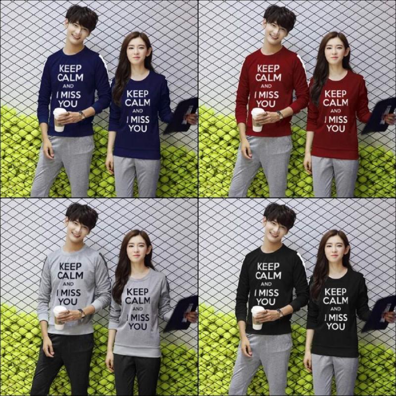 Jual Online Sweater Keep Calm Couple Murah di Medan Bahan Babytery Terbaru