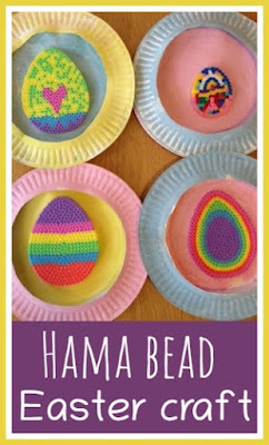 Easter craft with Hama beads and paper plates