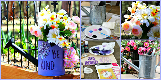 stencil, watering, can, paint, garden, decor, craft, maker, homemaker