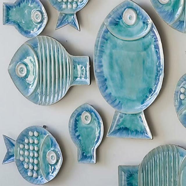 Ceramic Blue Fish Plate Wall Decor