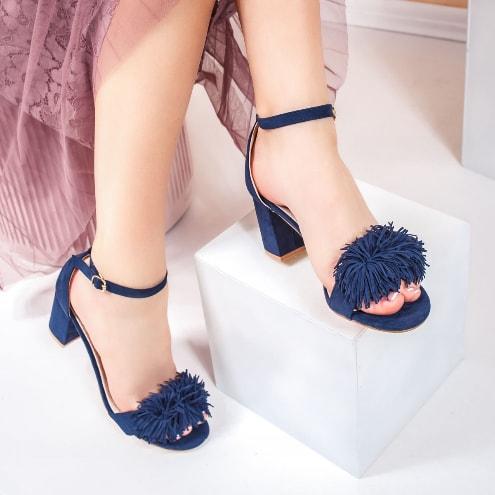 Sandale albastre cu toc comod de ocazii cu franjuri