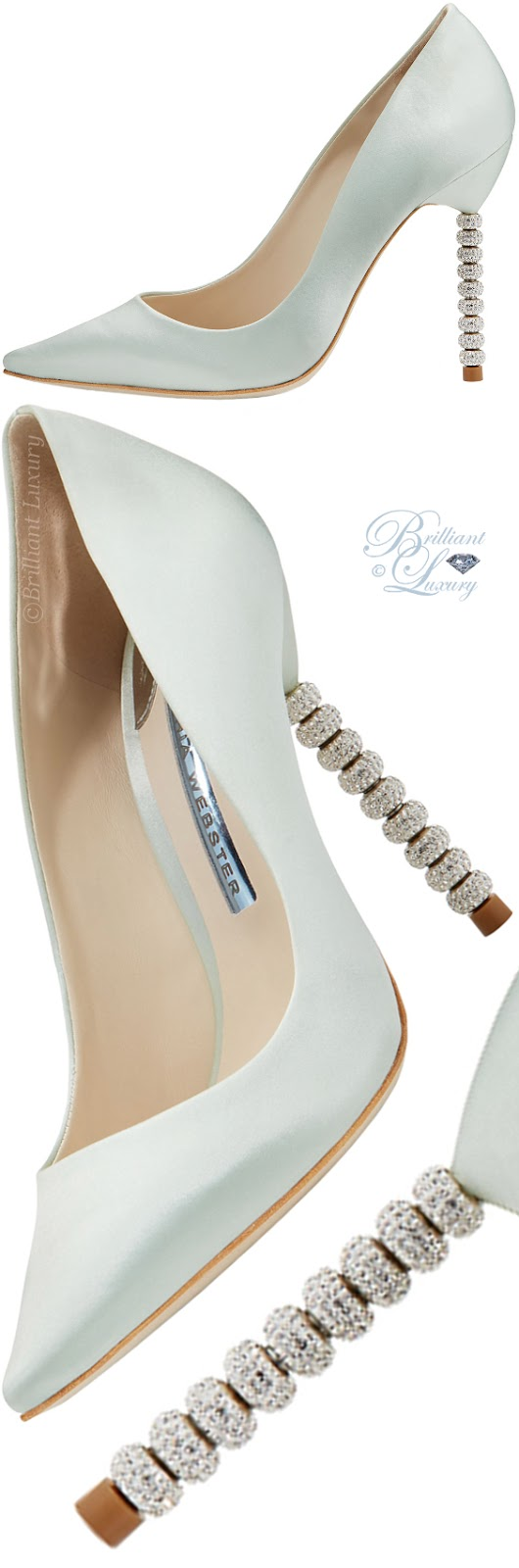 Brilliant Luxury ♦ Sophia Webster Coco blue satin crystal-heel bridal pumps