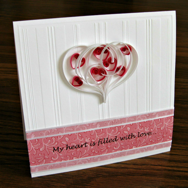 Valentine's Day card with quilled hearts within a larger heart outline