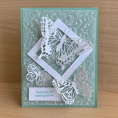 White Butterflies on a 3D embossed Vellum background
