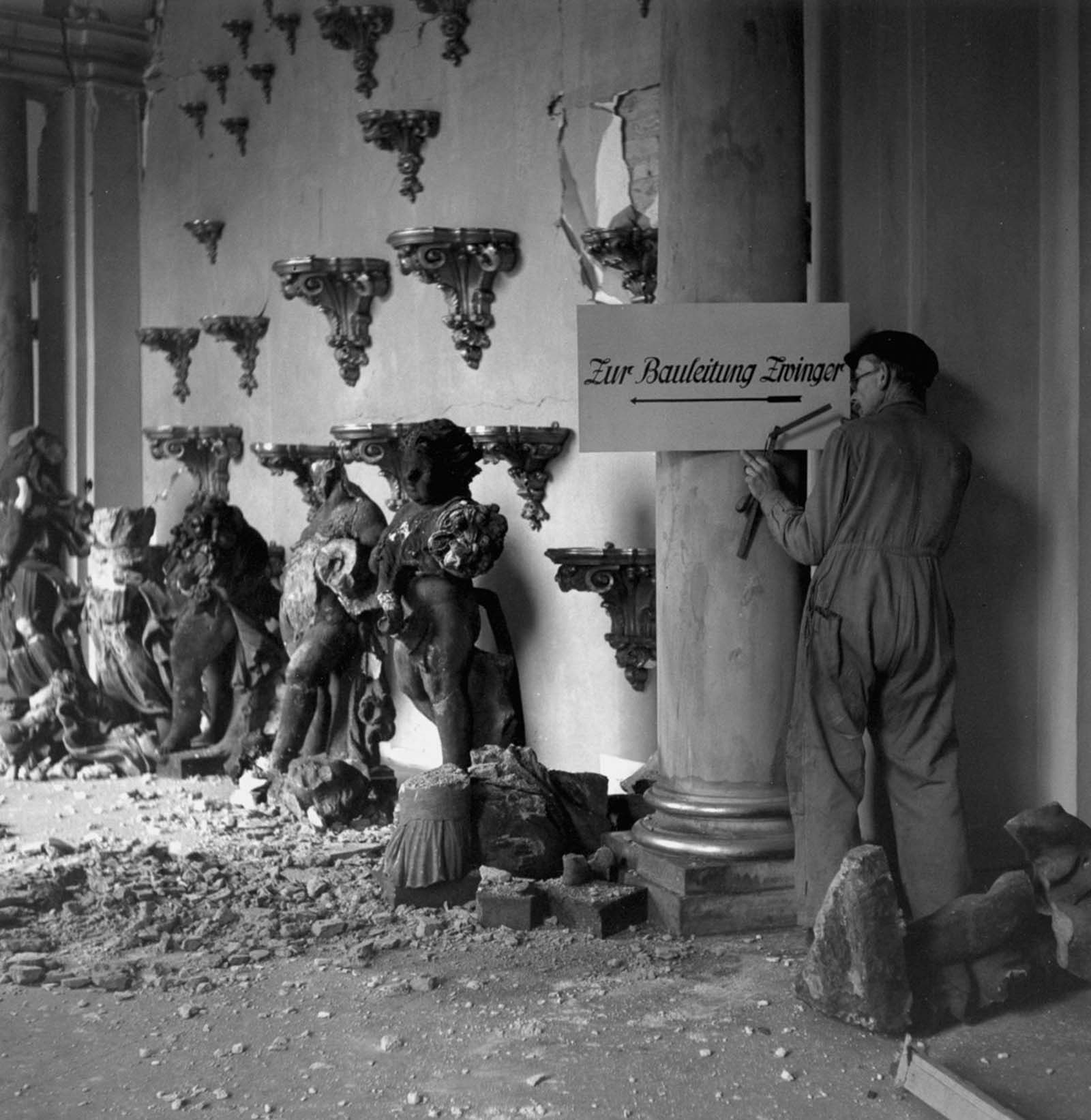 A man works on restoring the Zwinger art gallery. 1946.