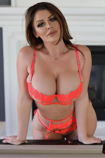 Busty brunette model in sexy lingerie shot