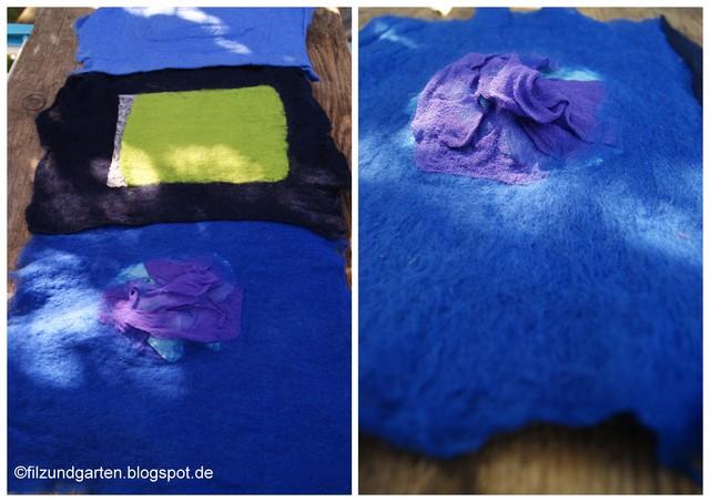 eine hellgrüne Tasche auf dunkelblauem Untergrund und eingefilzte Seidenstoffreste