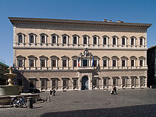 Sangallo designed the Palazzo Farnese on behalf of the future Pope Paul III