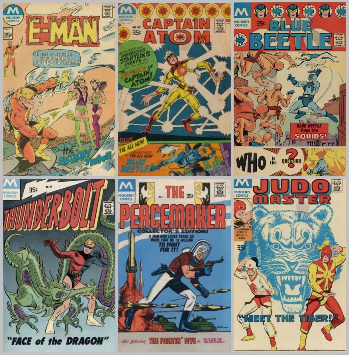 Six Modern covers -- E-Man, Captain Atom, Blue Beetle, Thunderbolt, Peacemaker, and Judomaster -- with heroes all in broadly similar action poses