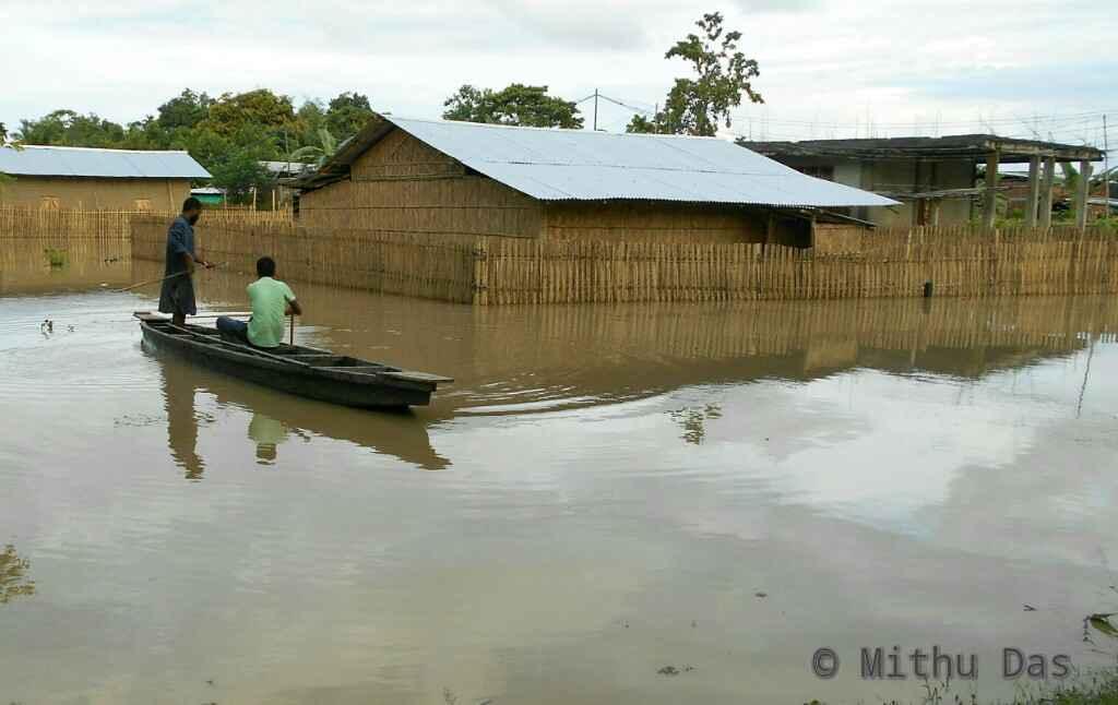 A flooded neighborhood at Kathkotia, Golaghat