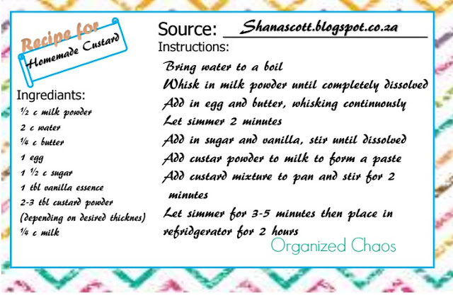 15 minute homemade custard recipe card
