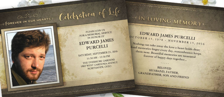 golden brown celebration of life memorial invite