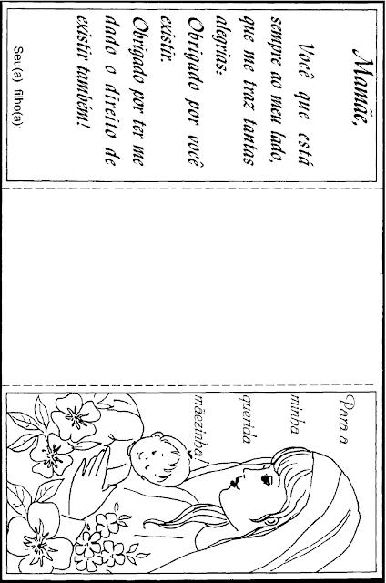 Nesta postagem trago para vocês um Modelo de cartão para o Dia das Mães com mensagem e desenho, dobrável em duas partes.