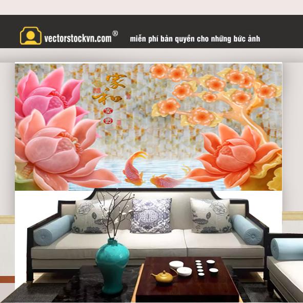 Tranh hoa 3d dán tường