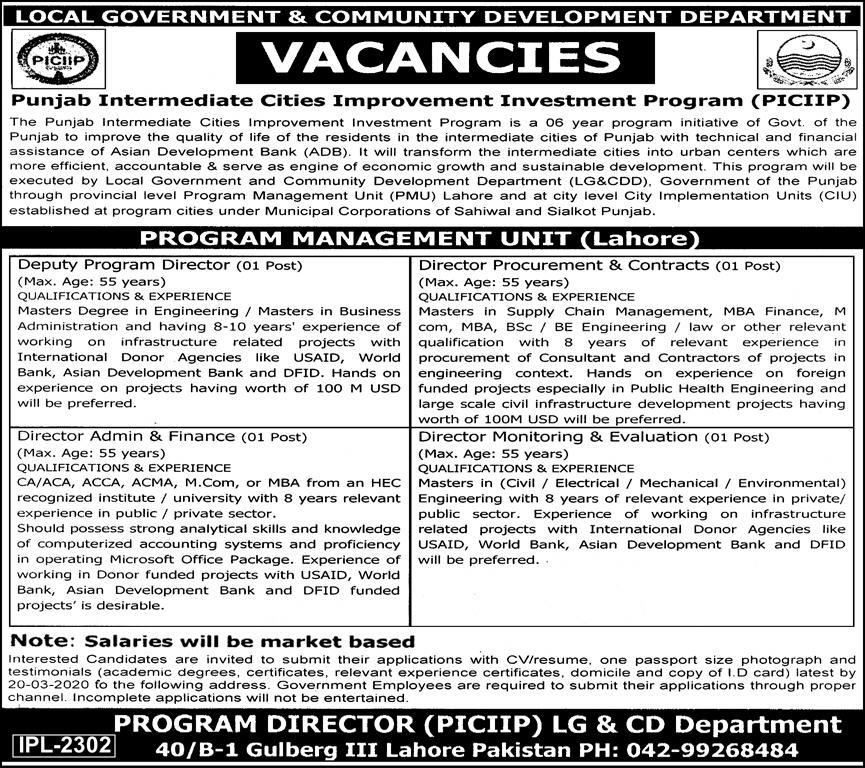 Jobs in Local Government and Community Development Department Govt of Punjab 2020