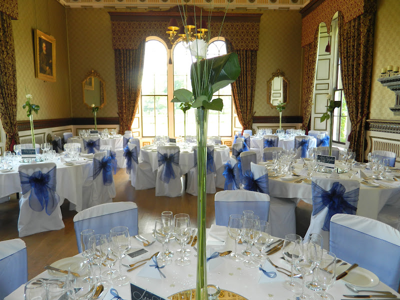 Chair Covers Wedding Yorkshire Black Salon Chairs Australia Simply Bows Jubilee Weekend Royal Blue Organza On White At Swinton Park North