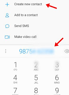 Number enter kar create new contact par click kare