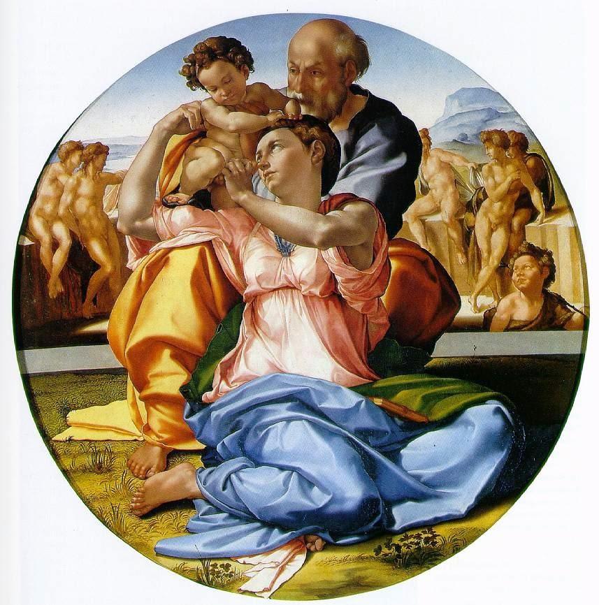 A Sagrada Família com João Batista Infantil - Michelangelo Buonarroti e suas pinturas (Renascimento) Italiano