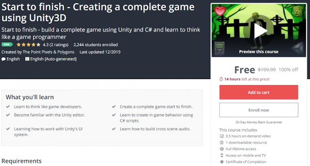 [100% Off] Start to finish - Creating a complete game using Unity3D| Worth 199,99$
