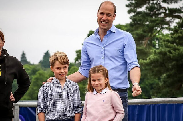 Princess Charlotte wore a pair of denim shorts, and bright pink Nike trainers, and a baby pink sweatshirt by Ralph Lauren