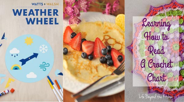 featured pins - weather wheel, swedish pancakes, crochet chart