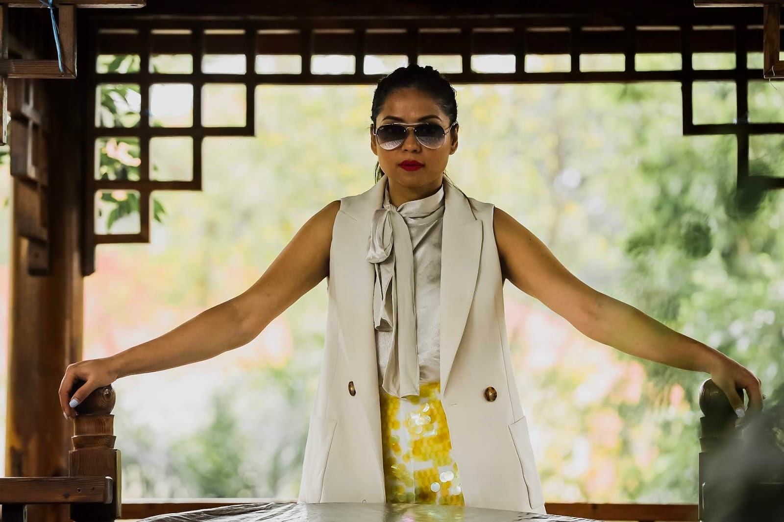 travel blogger, ranchi, photography, style, yellow sequin pants, vest, office look, party style, saumya shiohare, myriad musings