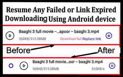 Resume Any Failed or Expired Downloading With Android Mobile