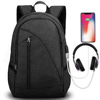 Tocode Water Resistant Laptop Backpack with USB Charging Port Headphone Port Fits up to 17-Inch Laptop Computer